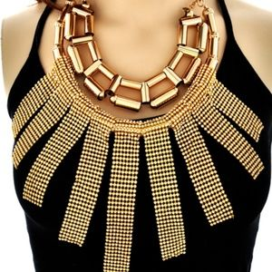 Large Gold-tone Statement Necklace